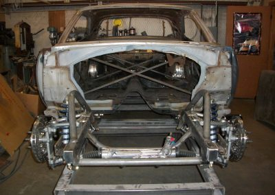 Schwartz Chassis for a 1969 Plymouth Roadrunner with Wilwood Disc Brakes, Ridetech Coil Overs, Adjustable Sway Bar
